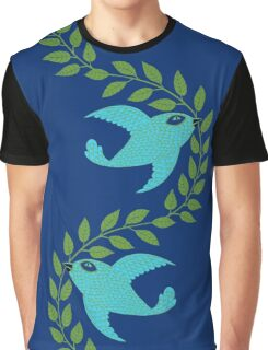 Bluebird with Green Garland  Graphic T-Shirt