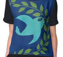 Bluebird with Green Garland  Women's Chiffon Top