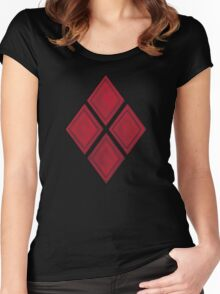 Red Diamond Patches with Inside stitching Women's Fitted Scoop T-Shirt