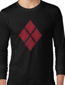 Red Diamond Patches with Inside stitching Long Sleeve T-Shirt
