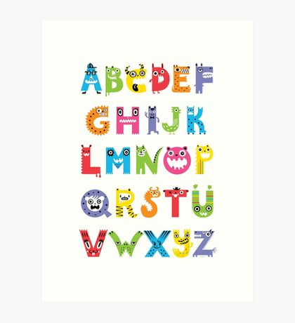 Alphabet Monsters poster Art Print