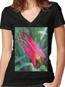 little pink Women's Fitted V-Neck T-Shirt