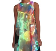 Rainbow 3D DNA Molecule A-Line Dress