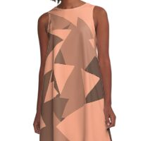 Peach Brown Geometric Pattern  A-Line Dress