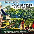 """Uncle Sam says GARDEN to cut food costs"" - Vintage propaganda poster .  by 321Outright"