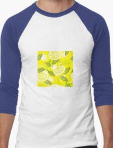 Lemon background Men's Baseball ¾ T-Shirt