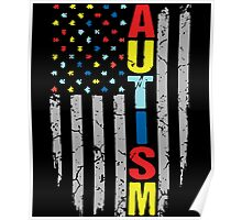 Autism Awareness T-Shirt - American Flag Puzzle Piece Poster
