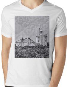 Cromer Lighthouse Black and White Mens V-Neck T-Shirt