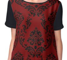 Gothic Floral Pattern Red and Black Chiffon Top