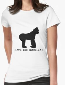 Save the Gorillas! .  Womens Fitted T-Shirt