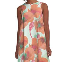 Floral Salmon Summer Delight A-Line Dress