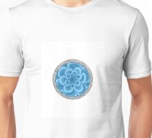 flower with striped round blue Unisex T-Shirt