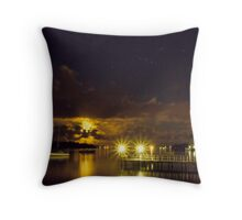 Full Moon Reflections from Cabins Throw Pillow