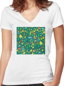 Green Forest Pattern Women's Fitted V-Neck T-Shirt
