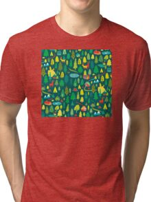 Green Forest Pattern Tri-blend T-Shirt