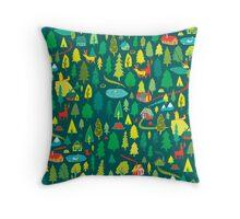 Green Forest Pattern Throw Pillow