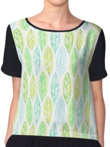 Watercolor leaf Chiffon Top