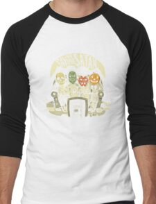 Say You Love Satan 80s Horror Podcast Logo Men's Baseball ¾ T-Shirt