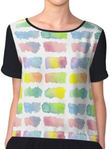 Hand-Painted Watercolor Colorful Gradation Rainbow Labels Chiffon Top