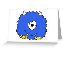Fuzzy Little Monsters - Blue Greeting Card