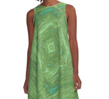 turquoise and green square abstract A-Line Dress
