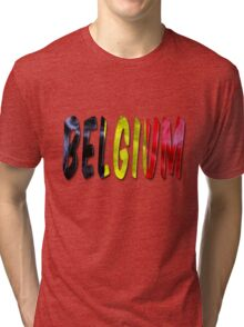 Belgium Word With Flag Texture Tri-blend T-Shirt
