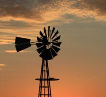 Kansas Country Windmill Blaze Orange Silhouette Sticker