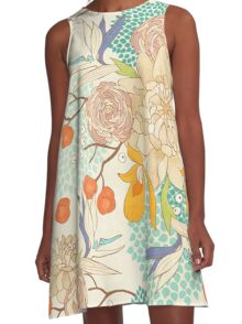 Peony Flower Pattern A-Line Dress