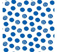 Pattern with blue polka dots Photographic Print