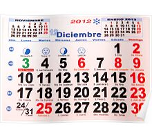 calendar with numbers Poster