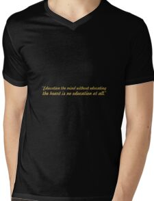 """Education the mind... """"Aristotle"""" Inspirational Quote Mens V-Neck T-Shirt"""
