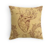 Pattern of heart, clockwork and key in steampunk style Throw Pillow