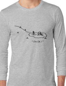 """I'm OK!"" Cycling Crash Cartoon Long Sleeve T-Shirt"