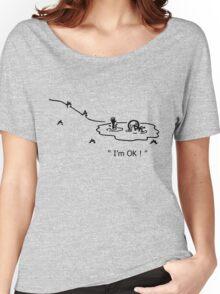 """I'm OK!"" Cycling Crash Cartoon Women's Relaxed Fit T-Shirt"