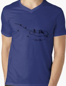 """I'm OK!"" Cycling Crash Cartoon Mens V-Neck T-Shirt"