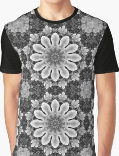 Flower Mandala, Blossoms black, white, gray Graphic T-Shirt