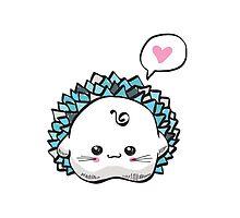 kawaii cute hedgehog on a white background by Lyusya