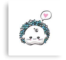 kawaii cute hedgehog on a white background Canvas Print