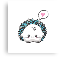 kawaii cute hedgehog on a white background Canvas Print
