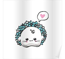 kawaii cute hedgehog on a white background Poster