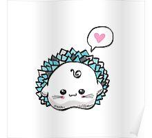 kawaii cute hedgehog on a white background Poster