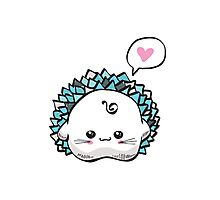 kawaii cute hedgehog on a white background Photographic Print