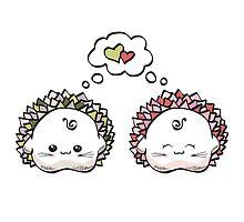 kawaii cute love hedgehog on a white background by Lyusya