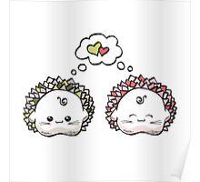 kawaii cute love hedgehog on a white background Poster