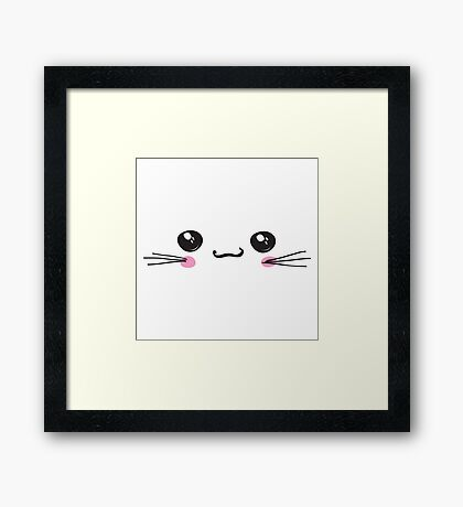 kawaii icon, cute attractive face, white background vector Framed Print