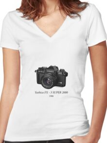 Yashica FX - 3 SUPER 2000 Women's Fitted V-Neck T-Shirt