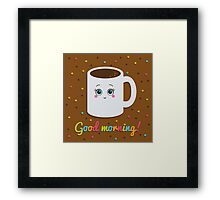 Good morning illustration with coffee. Framed Print