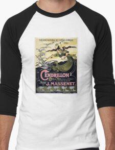 French Vintage Poster 1899 Restored Men's Baseball ¾ T-Shirt