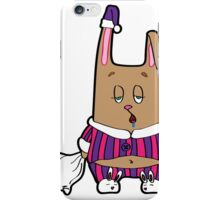 Sleepy bunny pajamas. Rabbit with a pillow and a soft toy in his hands. iPhone Case/Skin