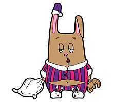 Sleepy bunny pajamas. Rabbit with a pillow and a soft toy in his hands. by Lyusya